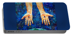 The Whole World In His Hands Portable Battery Charger by Lou Ann Bagnall