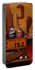 Portable Battery Charger featuring the painting The Workshop by Gene Gregory