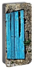 Portable Battery Charger featuring the photograph The Worn Blue Shutter by Tom Prendergast