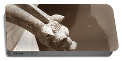 Portable Battery Charger featuring the photograph Thirsty Gargoyle - Sepia by HEVi FineArt