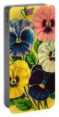 Pansy Flowers Antique Packaging Label  Portable Battery Charger