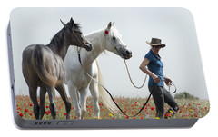 Portable Battery Charger featuring the photograph Three At The Poppies' Field... 1 by Dubi Roman