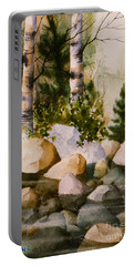 Three Birch By Rocky Stream Portable Battery Charger by Teresa Ascone