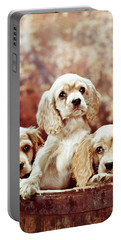 Three Blond Cocker Spaniel Puppies Portable Battery Charger