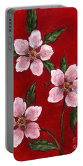 Three Blossoms On Red Portable Battery Charger