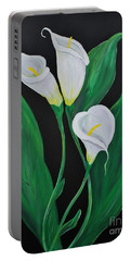 Portable Battery Charger featuring the painting Three Calla Lilies On Black by Janice Rae Pariza
