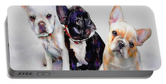 Three Frenchie Puppies Portable Battery Charger