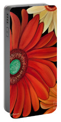 Portable Battery Charger featuring the painting Three Gerbera by Barbara McMahon
