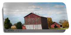 Portable Battery Charger featuring the photograph Three In One Barns by Debbie Green
