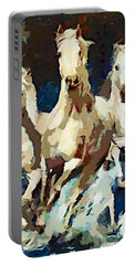 Three Lipizzans Portable Battery Charger by Dragica  Micki Fortuna