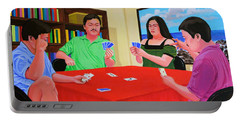 Three Men And A Lady Playing Cards Portable Battery Charger