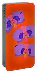Portable Battery Charger featuring the mixed media Three Orchids by Michele Myers