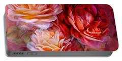 Portable Battery Charger featuring the mixed media Three Roses - Red by Carol Cavalaris