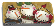Three Snowmen Portable Battery Charger by Anne Tavoletti