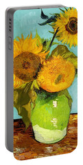 Three Sunflowers In A Vase Portable Battery Charger