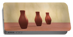 Portable Battery Charger featuring the digital art Three Vases by Gabiw Art