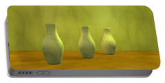 Portable Battery Charger featuring the digital art Three Vases II by Gabiw Art