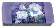 Portable Battery Charger featuring the painting White Roses With Red Buds On Blue Field by Greta Corens