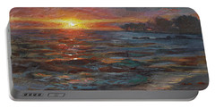 Through The Vog - Hawaii Beach Sunset Portable Battery Charger