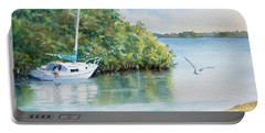Portable Battery Charger featuring the painting Tide's Out by Roger Rockefeller