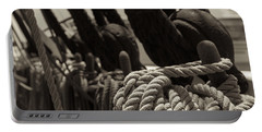 Tied Up Black And White Sepia Portable Battery Charger