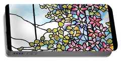 Stained Glass Tiffany Floral Skylight - Fenway Gate Portable Battery Charger by Donna Walsh