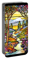 Tiffany Landscape Window Portable Battery Charger by Donna Walsh