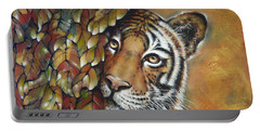Portable Battery Charger featuring the painting Tiger 300711 by Selena Boron