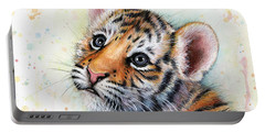 Tiger Cub Watercolor Art Portable Battery Charger
