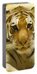 Portable Battery Charger featuring the digital art Tiger Eyes by Erika Weber