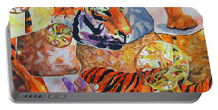 Portable Battery Charger featuring the painting Tiger Mosaic by Daniel Janda