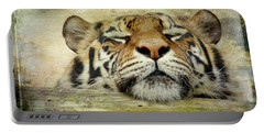 Tiger Snooze Portable Battery Charger by Athena Mckinzie