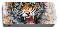 Tiger Watercolor Portrait Portable Battery Charger by Olga Shvartsur