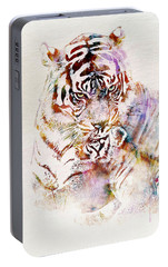 Tiger With Cub Watercolor Portable Battery Charger by Marian Voicu