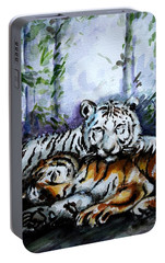 Portable Battery Charger featuring the painting Tigers-mother And Child by Harsh Malik