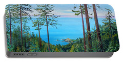 Timber Cove On A Still Summer Day Portable Battery Charger by Asha Carolyn Young