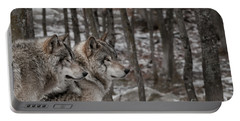 Timber Wolf Pair In Forest Portable Battery Charger