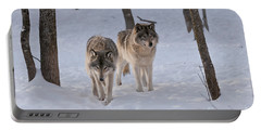 Portable Battery Charger featuring the photograph Timber Wolf Pair  by Wolves Only