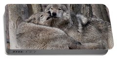 Portable Battery Charger featuring the photograph Timber Wolves Playing by Wolves Only