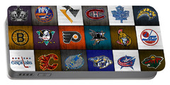 Time To Lace Up The Skates Recycled Vintage Hockey League Team Logos License Plate Art Portable Battery Charger by Design Turnpike
