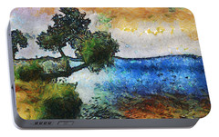 Portable Battery Charger featuring the digital art Time Well Spent - Medina Lake by Wendy J St Christopher