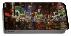 Times Square At Night - After The Rain Portable Battery Charger