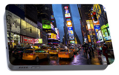 Times Square In The Rain Portable Battery Charger by Garry Gay