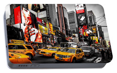 Times Square Taxis Portable Battery Charger by Az Jackson
