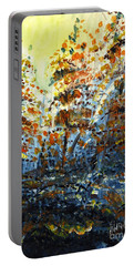 Portable Battery Charger featuring the painting Tim's Autumn Trees by Holly Carmichael