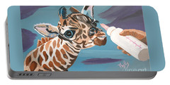 Tiny Baby Giraffe With Bottle Portable Battery Charger by Phyllis Kaltenbach