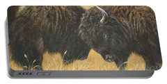 Portable Battery Charger featuring the painting Titans Of The Plains by Kim Lockman
