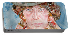 Tom Baker Doctor Who Watercolor Portrait Portable Battery Charger by Fabrizio Cassetta