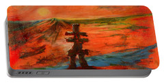 Portable Battery Charger featuring the painting Top Of The World by Sher Nasser