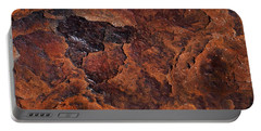 Topography Of Rust Portable Battery Charger by Rona Black